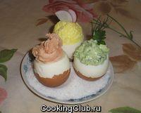 Яйца фаршированые разноцветные
