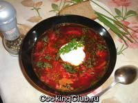 Борщ на томатном соке (без зажарки)