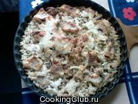 Запеченное филе морского окуня с рисом и грибами