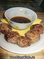 Баклажановые фрикадельки с имбирным соусом