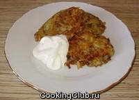 Картофельно - гречневые оладьи с ветчиной