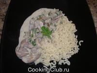 Печенка с шампиньонами в сметанном соусе
