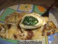 Запеченные блинчики со шпинатом и сыром