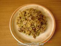 Куриная печенка с рисом и горошком