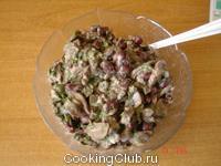 Салат из шампиньонов и красной фасоли