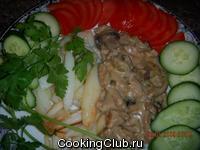 Свинина с грибами в горчично - сливочном соусе